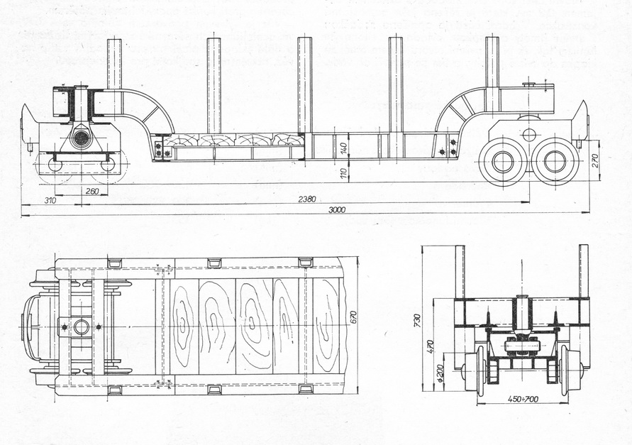 Důlní vůz sedlový - rozměry